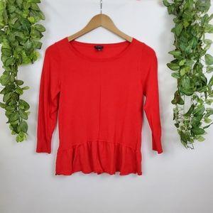 Ann Taylor ruffle drop hem red 3/4 sleeve blouse